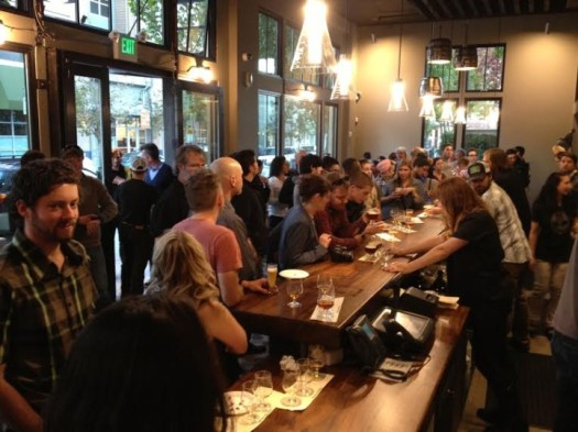 A crowd turned out for a preview event at Sierra Nevada's new Torpedo Room. Photo: Siciliana Trevino