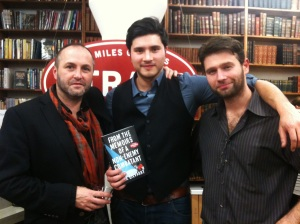 Alex Gilvarry with Colum McCann and John Buffalo Mailer at Strand Books in New York City.
